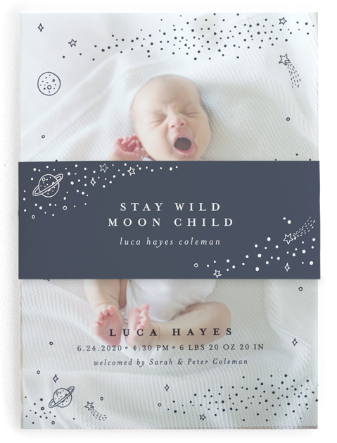 This is a blue birth announcement belly band by Monika Drachal called Out of This World with standard printing on signature text in belly band.