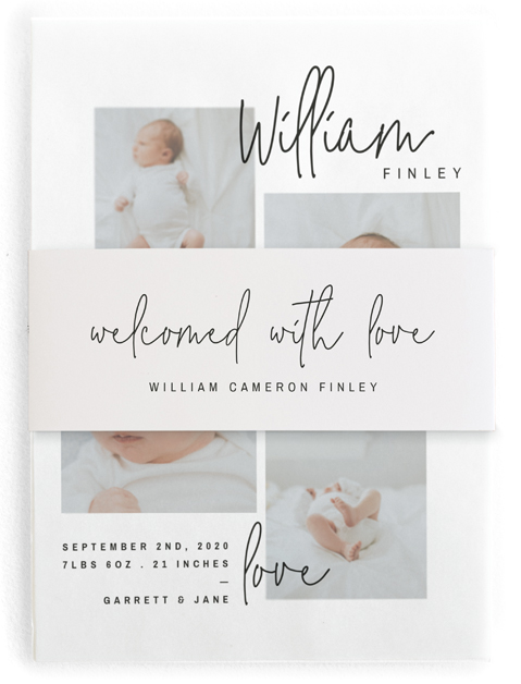This is a black birth announcement belly band by Lindsay Stetson Thompson called overjoyed script with standard printing on signature text in belly band.