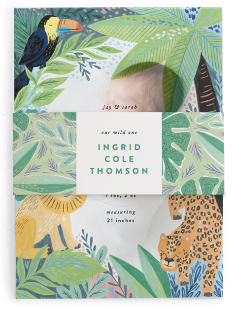 This is a green birth announcement belly band by Alethea and Ruth called Jungle Animal Sketchbook with standard printing on signature text in belly band.