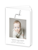 This is a black birth announcement by Lehan Veenker called Just Me with standard printing on signature80 in booklette.