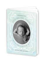 This is a blue birth announcement by JeAnna Casper called Ornate Frame with standard printing on signature80 in booklette.