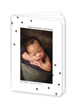 This is a black and white birth announcement by Dozi called Modern Plus with standard printing on signature80 in booklette.
