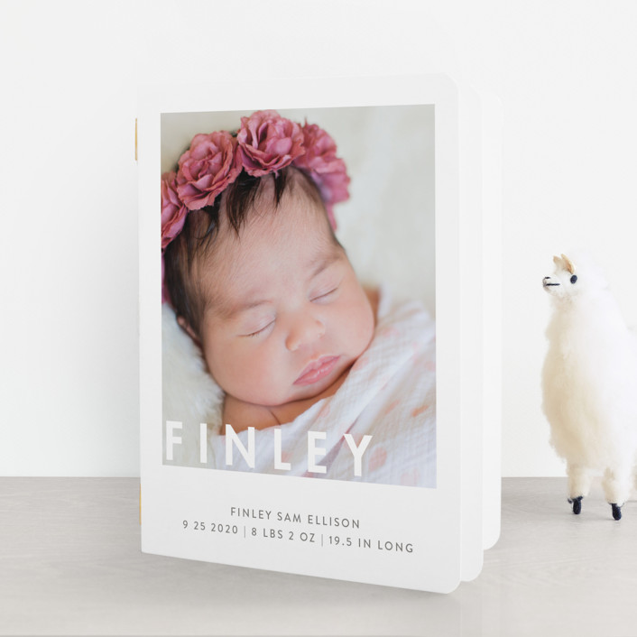 """""""Simply Baby"""" - Modern Birth Announcement Booklette™ Cards in Marshmallow by Susan Brown."""