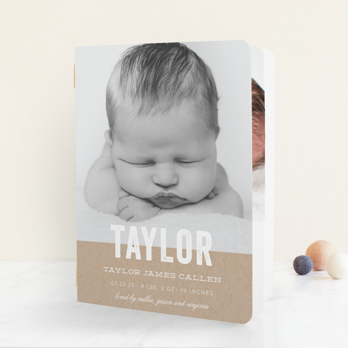 """Statement"" - Birth Announcement Booklette™ Cards in Marine by Sara Hicks Malone."