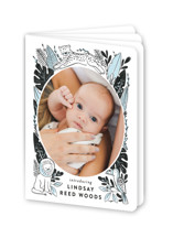 This is a blue birth announcement by Alethea and Ruth called Jungle Pals with standard printing on signature80 in booklette.