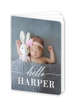 This is a white birth announcement by Susan Asbill called Little Hello with standard printing on signature80 in booklette.