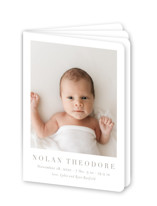 This is a brown birth announcement by Toast & Laurel called Menil with standard printing on signature80 in booklette.