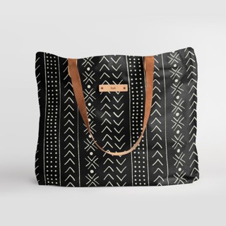 This is a black carry all tote by Erin Deegan called mud cloth organic in standard.