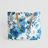 This is a blue carry all tote by Chris Griffith called Primroses Forever.