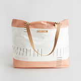 This is a pink carry all tote by Jen Florentine called Lined Stripes.