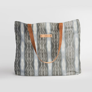 This is a brown carry all tote by Angela Simeone called Ikat Stripe.