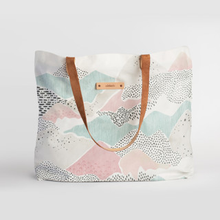 This is a blue carry all tote by Monika Drachal called Abstract View.