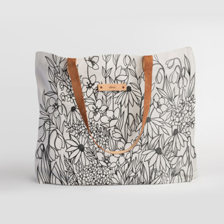 This is a black carry all tote by Karla Jodoin called Bohemian Florals II.