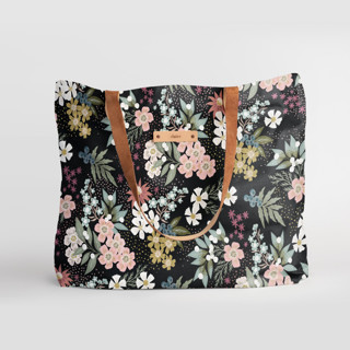 This is a black carry all tote by Alethea and Ruth called Wildflower Scatter in standard.