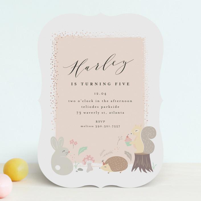 """""""rinaldini"""" - Foil-pressed Children's Birthday Party Invitations in Blush by chocomocacino."""