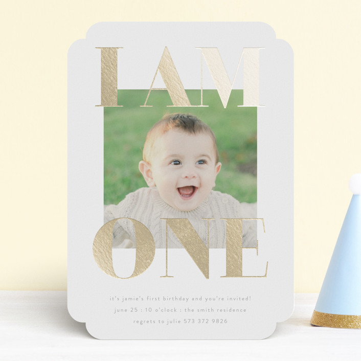 """i am one"" - Foil-pressed Children's Birthday Party Invitations in Goldenrod by Phrosne Ras."