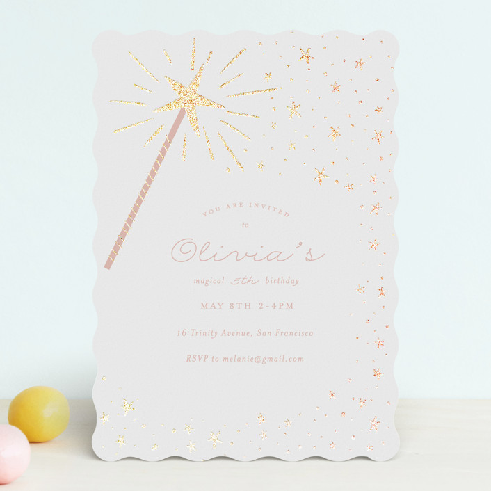 """Magical wand"" - Foil-pressed Children's Birthday Party Invitations in Cotton Candy by Jackie Crawford."