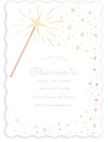 This is a pink kids birthday invitation by Jackie Crawford called Magical wand with foil-pressed printing on signature in standard.