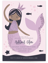 This is a purple kids birthday invitation by peetie design called Glitter Mermaid with foil-pressed printing on signature in standard.