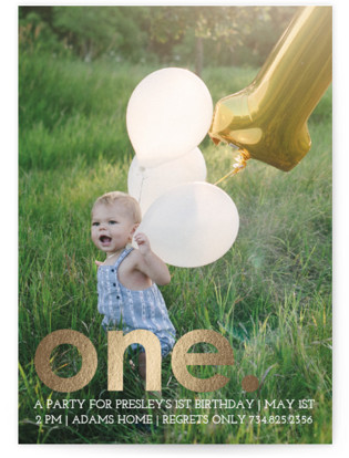 Colorful One Foil-Pressed Children's Birthday Party Invitations