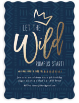 This is a blue kids birthday invitation by Seven Swans called Wild Rumpus with foil-pressed printing on signature in standard.