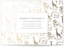 This is a gold kids birthday invitation by Waldo Press called Animal Parade with foil-pressed printing on pearlescent in standard.
