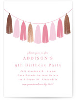 This is a pink kids birthday invitation by Angela Thompson called Gilded Garland with foil-pressed printing on signature in standard.