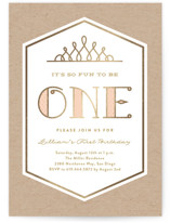 This is a gold kids birthday invitation by Erica Krystek called Pink & Gold with foil-pressed printing on signature in standard.