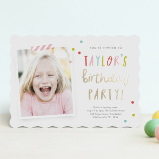 Confetti bash Foil-Pressed Children's Birthday Party Invitations