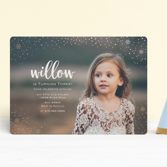 """Snowfall"" - Foil-pressed Children's Birthday Party Invitations in Gold by Lorent and Leif."