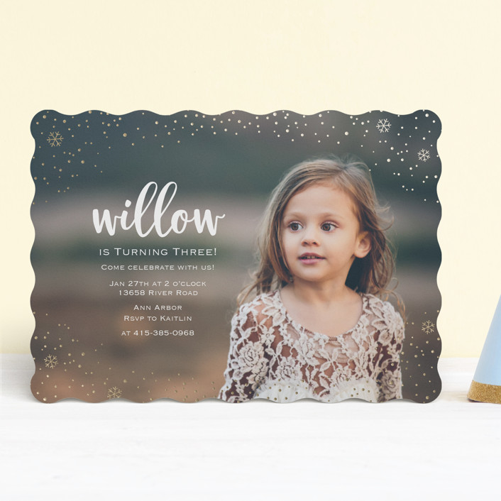"""""""Snowfall"""" - Foil-pressed Children's Birthday Party Invitations in Gold by Lorent and Leif."""