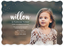 This is a gold kids birthday invitation by Lorent and Leif called Snowfall with foil-pressed printing on smooth signature in standard.
