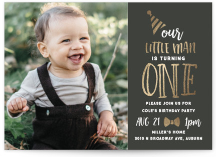 Little Bow Tie Foil-Pressed Children's Birthday Party Invitations