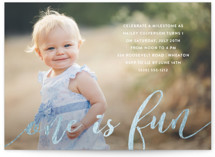This is a gold kids birthday invitation by Pine Street Creative called One is Fun! with foil-pressed printing on smooth signature in standard.