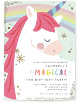 This is a gold kids birthday invitation by peetie design called unicorno with foil-pressed printing on signature in standard.