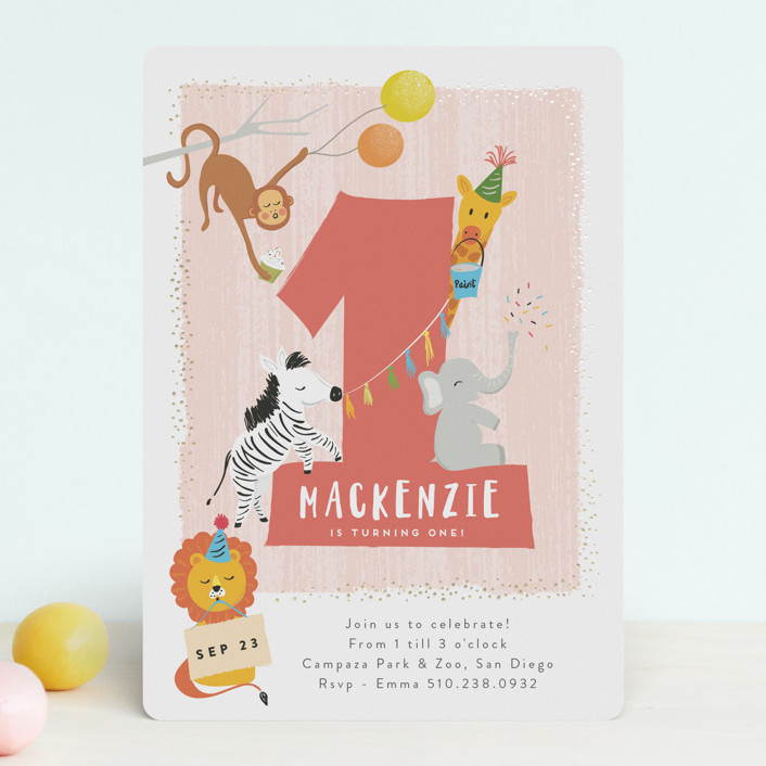 """""""dundee"""" - Foil-pressed Children's Birthday Party Invitations in Candy Cane by chocomocacino."""