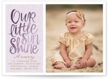 This is a gold kids birthday invitation by Karidy Walker called Little Sunshine with foil-pressed printing on smooth signature in standard.