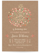 This is a brown kids birthday invitation by Paper Sun Studio called Little Pumpkin with foil-pressed printing on signature in standard.