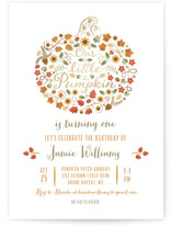 This is a orange kids birthday invitation by Paper Sun Studio called Little Pumpkin with foil-pressed printing on signature in standard.