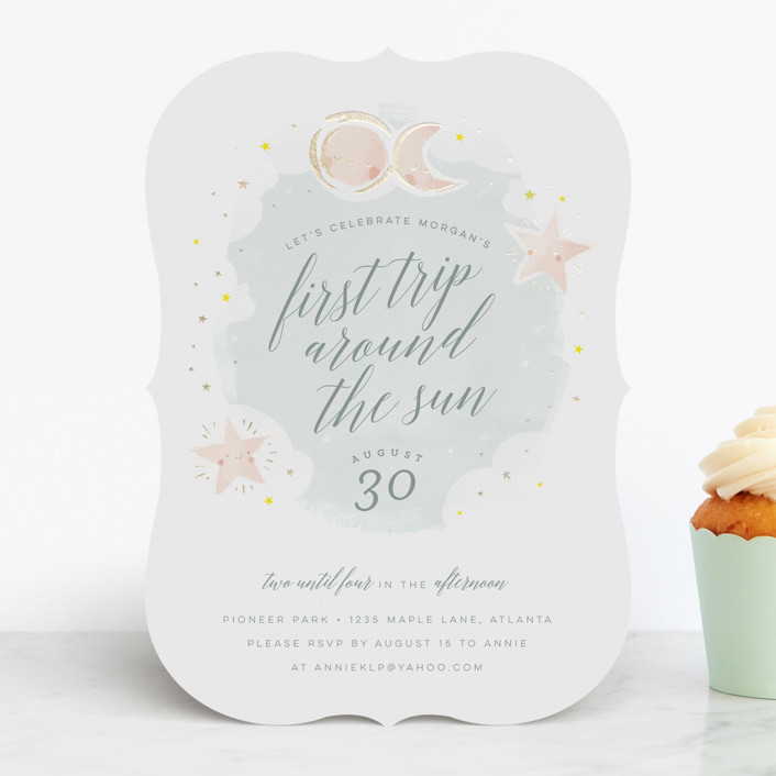 """""""Birthday Stars"""" - Foil-pressed Children's Birthday Party Invitations in Sky by Lori Wemple."""