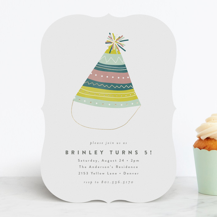 """""""Party Hat"""" - Foil-pressed Children's Birthday Party Invitations in Candy by peony papeterie."""