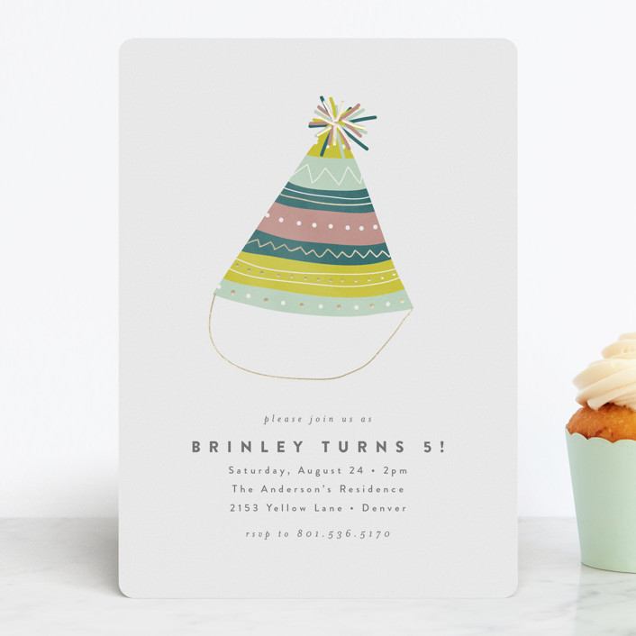 """Party Hat"" - Foil-pressed Children's Birthday Party Invitations in Candy by peony papeterie."