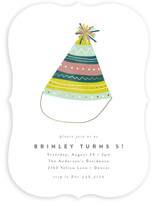This is a green kids birthday invitation by Brianne Larsen called Party Hat with foil-pressed printing on signature in standard.