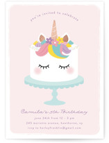 This is a pink kids birthday invitation by Annie Holmquist called Sweet Unicorn with foil-pressed printing on signature in standard.