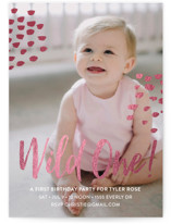 This is a white kids birthday invitation by Christie Garcia called Wild One! with foil-pressed printing on smooth signature in standard.