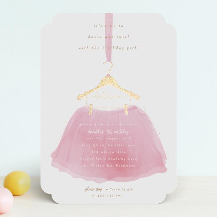 """Little Ballerina"" - Foil-pressed Children's Birthday Party Invitations in Rose by Kanika Mathur."