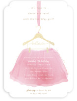This is a pink kids birthday invitation by Kanika Mathur called Little Ballerina with foil-pressed printing on signature in standard.