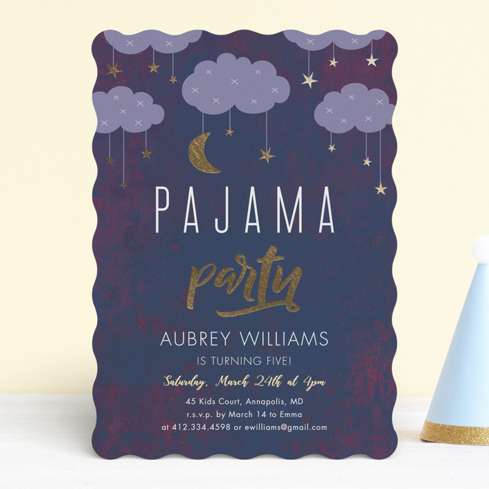 """""""PJ Party"""" - Foil-pressed Children's Birthday Party Invitations in Midnight by Stellax Creative."""