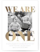 This is a white kids birthday invitation by Phrosne Ras called We Are One with foil-pressed printing on smooth signature in standard.