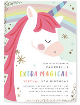 This is a colorful kids birthday invitation by peetie design called virtual unicorn with foil-pressed printing on signature in standard.